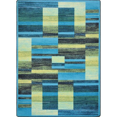 Hand-Tufled Blue/Yellow Area Rug Rug Size: 78 x 109