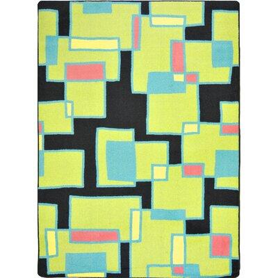 Hand-Tufled Black/Yellow Area Rug Rug Size: 109 x 132