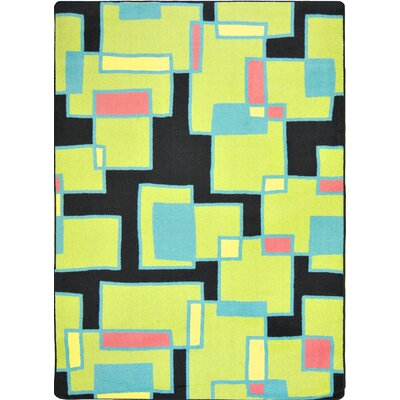 Hand-Tufled Black/Yellow Area Rug Rug Size: 54 x 78