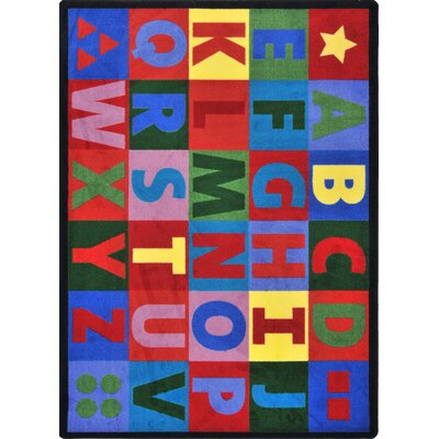 Hand-Tufled Blue/Red Kids Rug Rug Size: 109 x 132
