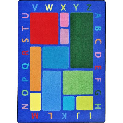 Building Blocks Blue Area Rug Rug Size: 54 x 78