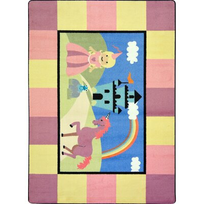Pink/Blue Area Rug Rug Size: Rectangle 54 x 78