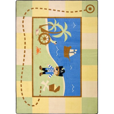 Blue/Green Area Rug Rug Size: Rectangle 54 x 78