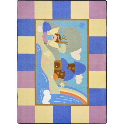 Blue/Pink Area Rug Rug Size: Rectangle 54 x 78