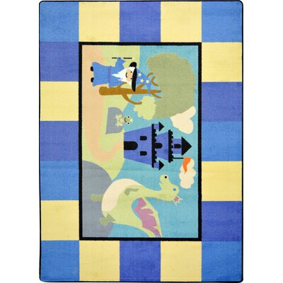 Blue/Yellow Area Rug Rug Size: Round 54