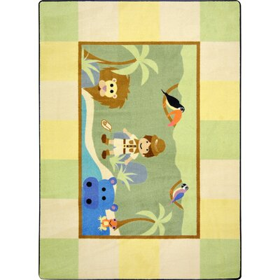 Green/Yellow Area Rug Rug Size: Rectangle 54 x 78