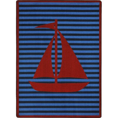 Blue/Red Area Rug Rug Size: Rectangle 54 x 78