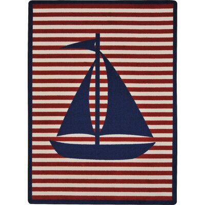 Navy/ Red Area Rug Rug Size: 109 x 132