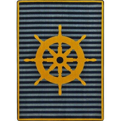 Grey/Yellow Area Rug Rug Size: 54 x 78