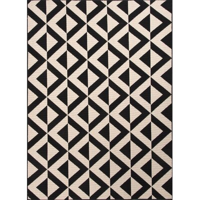 Wethersfield Ivory/Black Indoor/Outdoor Area Rug Rug Size: 53 x 76