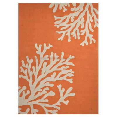 Hand-Hooked Orange Indoor/Outdoor Area Rug Rug Size: 36 x 56