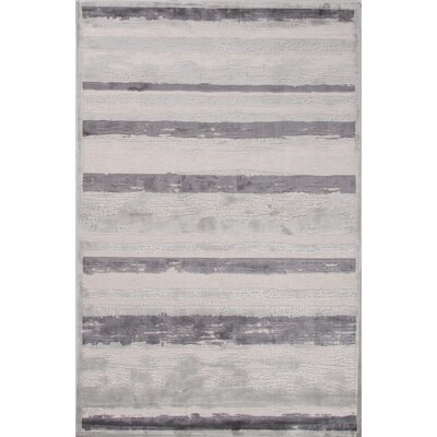Machine-Woven Chenille Gray Area Rug Rug Size: Rectangle 76 x 96