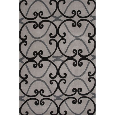 Hand-Tufted Gray Area Rug Rug Size: 5 x 76