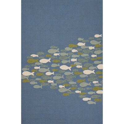 Hand-Hooked Blue Outdoor Area Rug Rug Size: 7'6