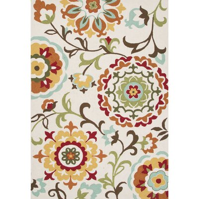Hand-Tufted Red/Beige Area Rug Rug Size: 76 x 96