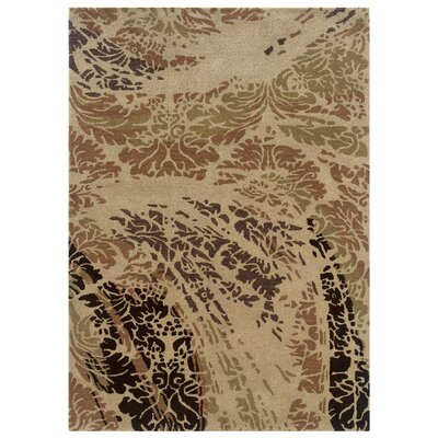 Hand-Tufted Beige/Brown Area Rug Rug Size: 110 x 210