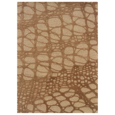 Hand-Tufted Ivory/Pale Gold Area Rug Rug Size: 110 x 210