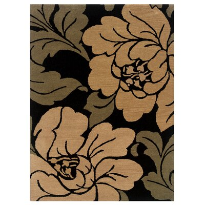 Hand-Tufted Black/Sand Area Rug Rug Size: 5 x 7