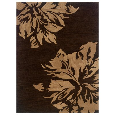 Hand-Tufted Chocolate/Sand Area Rug Rug Size: 5 x 7