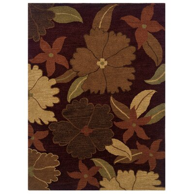 Hand-Tufted Burgundy/Apricot Red Area Rug Rug Size: Rectangle 5 x 7