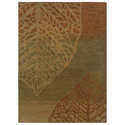 Hand-Tufted Olive/Beige Area Rug Rug Size: 8 x 10