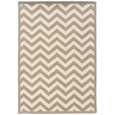 Hand-Hooked Grey/Ivory Area Rug Rug Size: Rectangle 1'10