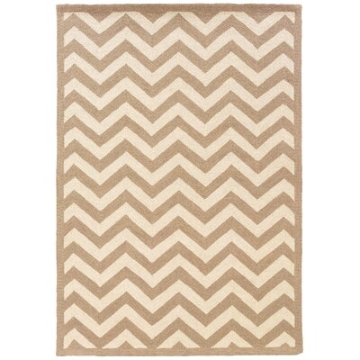 Hand-Hooked Beige/Ivory Area Rug Rug Size: Rectangle 5 x 7