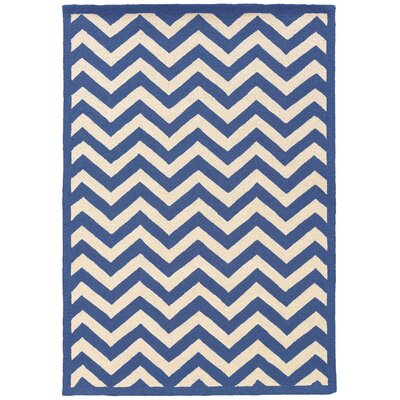 Hand-Hooked Blue/Ivory Area Rug Rug Size: Rectangle 5 x 7