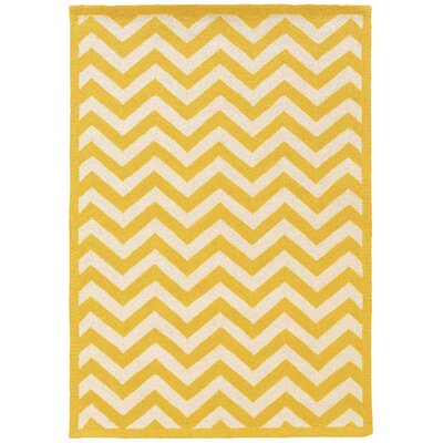 Hand-Hooked Yellow/Ivory Area Rug Rug Size: Rectangle 5 x 7