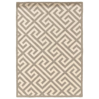 Hand-Hooked Gray/Ivory Area Rug Rug Size: 5 x 7