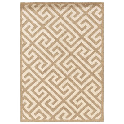 Hand-Hooked Brown/Ivory Area Rug Rug Size: Rectangle 8 x 10