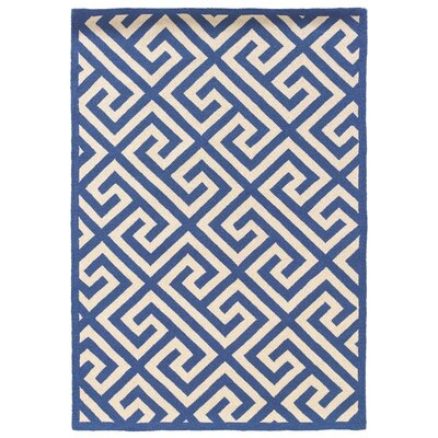 Hand-Hooked Blue/Ivory Area Rug Rug Size: 5 x 7