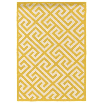 Hand-Hooked Yellow/Ivory Area Rug Rug Size: 110 x 210