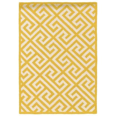 Hand-Hooked Yellow/Ivory Area Rug Rug Size: Rectangle 110 x 210