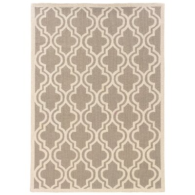 Hand-Hooked Gray/Ivory Area Rug Rug Size: 8 x 10