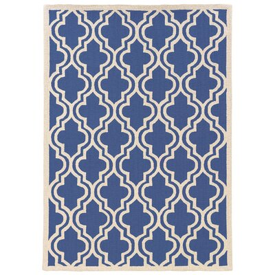 Hand-Hooked Blue/Ivory Area Rug Rug Size: 8 x 10