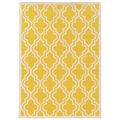 Hand-Hooked Yellow/Ivory Area Rug Rug Size: 8 x 10