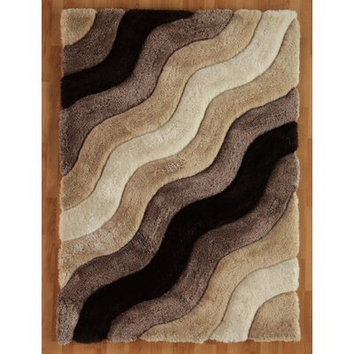 Hand-Tufted Brown Area Rug Rug Size: 110 x 210