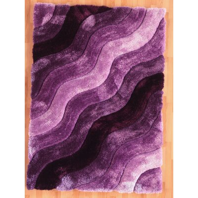 Hand-Tufted Purple Area Rug Rug Size: Rectangle 5 x 7