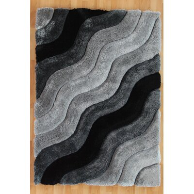Hand-Tufted Gray Area Rug Rug Size: 110 x 210