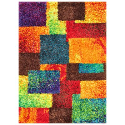 Orange/Blue Area Rug Rug Size: 52 x 77