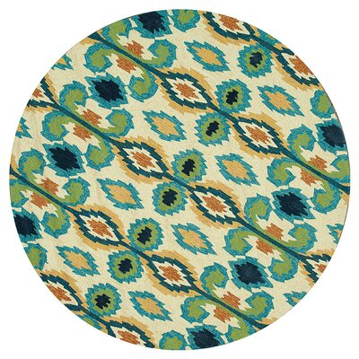 Hand-Hooked Beige/Blue Indoor/Outdoor Area Rug Rug Size: Round 710