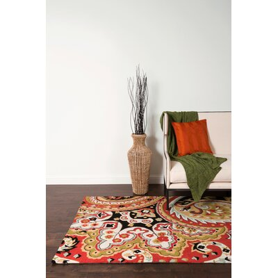 Hand-Hooked Red/Black Area Rug Rug Size: 36 x 56
