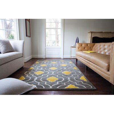 Hand-Tufted Gray/Gold Area Rug Rug Size: 36 x 56