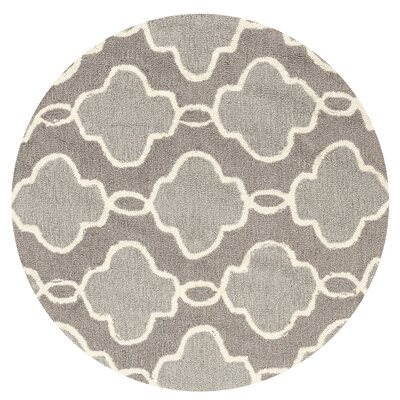 Hand-Hooked Gray Area Rug Rug Size: Rectangle 76 x 96