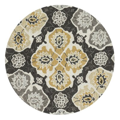 Kips Bay Hand-Hooked Black/Gray/Beige Area Rug Rug Size: Rectangle 36 x 56
