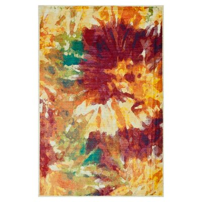 Red/Yellow Area Rug Rug Size: 52 x 77