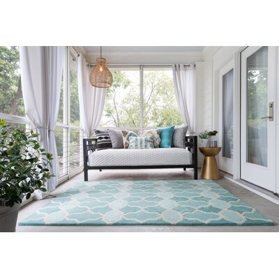 Hand-Tufted Blue Area Rug Rug Size: 36 x 56
