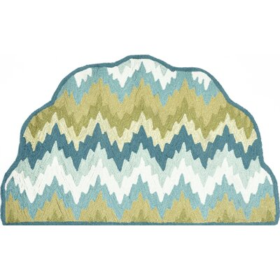 Hand-Hooked Blue/Green Area Rug Rug Size: Slice 23 x 39