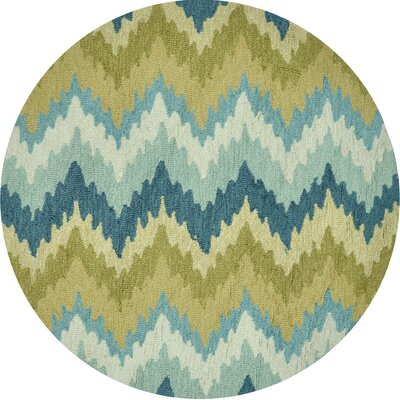 Hand-Hooked Blue/Green Area Rug Rug Size: Round 3